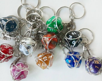 Removable Caged D20 Keychain, 20-sided Die, Polyhedral Dice, D&D, Role Playing, RPG, Nerdy Birthday Gifts, Dice Keychain, Keyring, DND gift