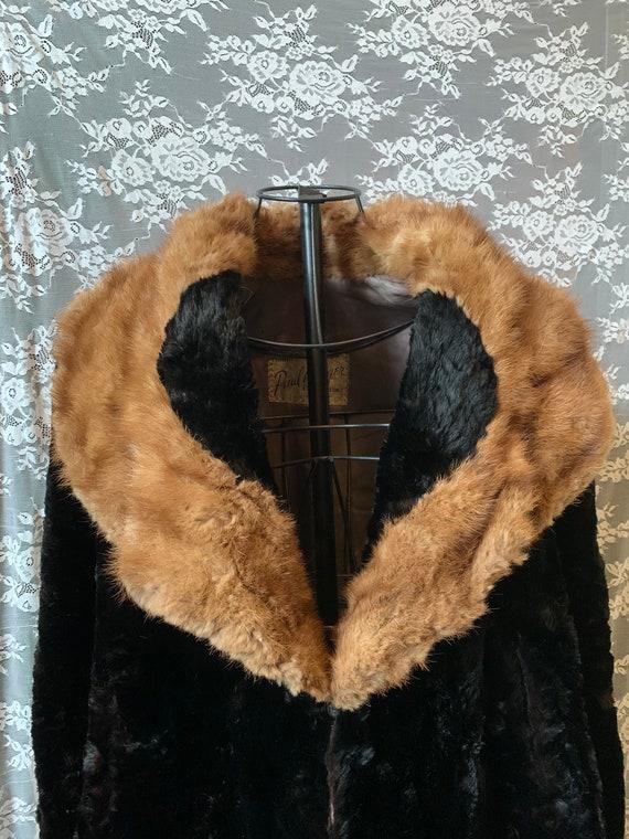 Antique 1920s Genuine Fox & Mink Fur Cape Coat