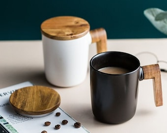 Handmade coffee mug with wooden handle & Lid, Ceramic espresso cup as gift for him