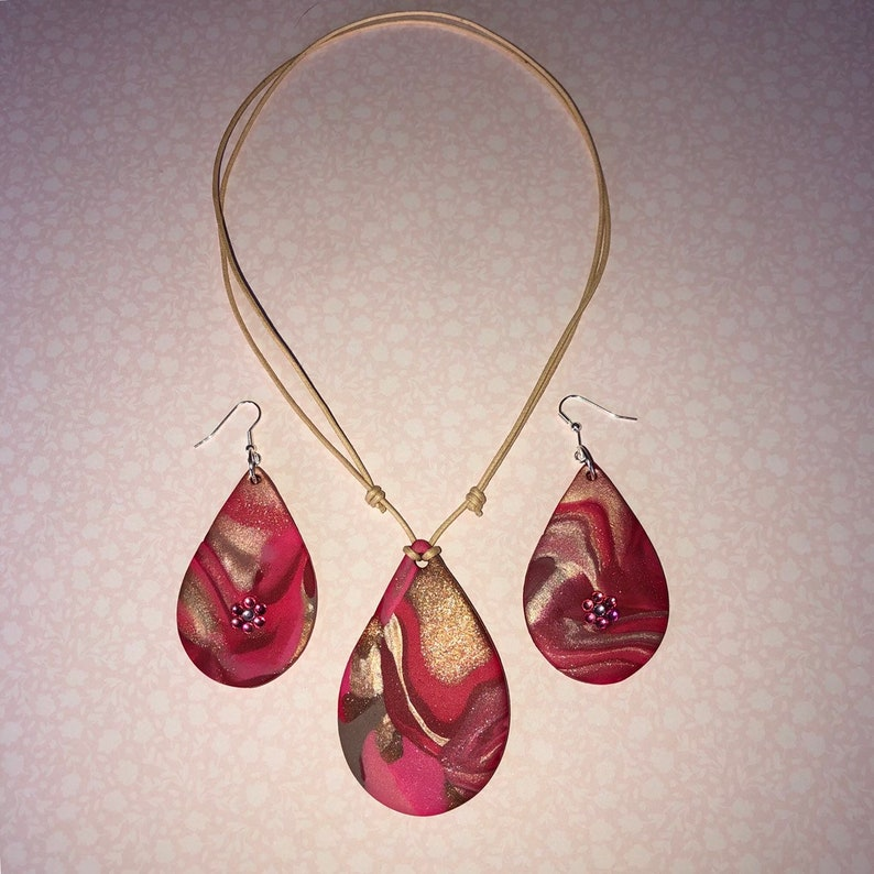 Polymer Clay Jewellery Gift Set Pendant and Earrings