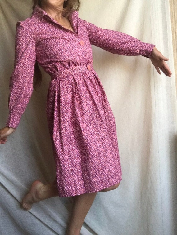 80's Vintage Pink Polka Dot Dress with Puff Sleeve