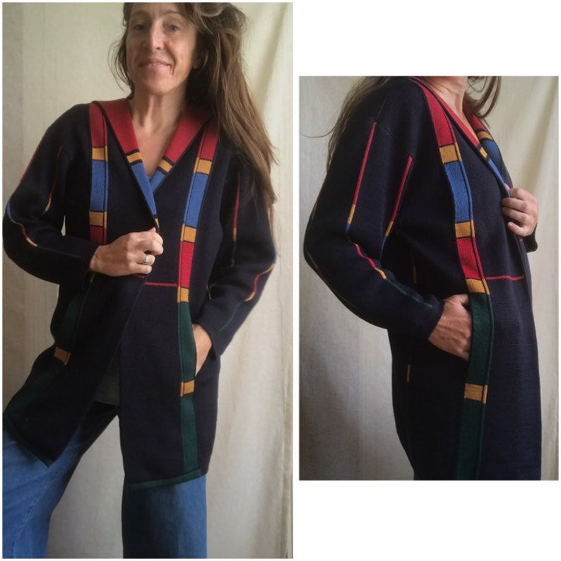 Geometric Cardigan Knit Heavy Weight Size Large Long Cover-Up Colorblock Shoulder Pads Pockets 80\u2019s Long Cardigan