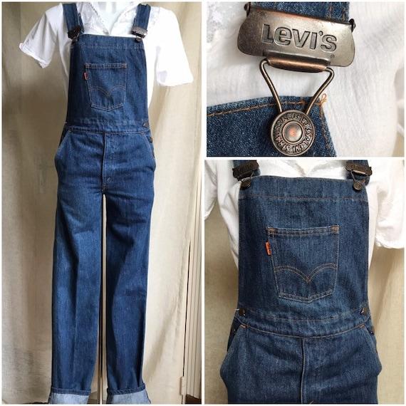 70s Vintage Levis Denim Overalls, Orange Tab, Size