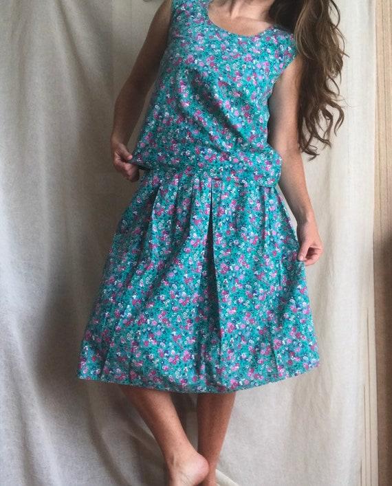 XS-S size blue cotton sundress Turquoise midi dress women retro dress 70s summer style fashion