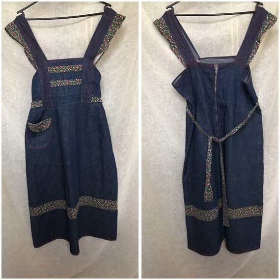 Sweet Vintage 70s Denim Apron Style Dress, Red st… - image 8