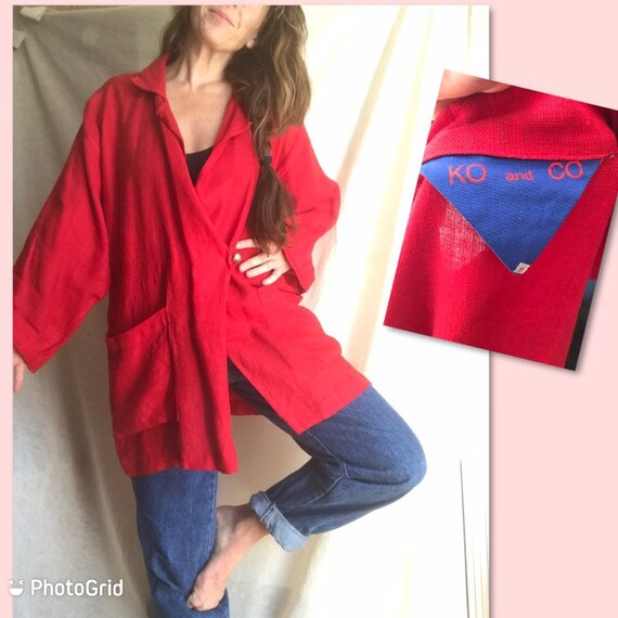 Ko and Co Oversized Linen Wrap Jacket, Kimono Wid… - image 1