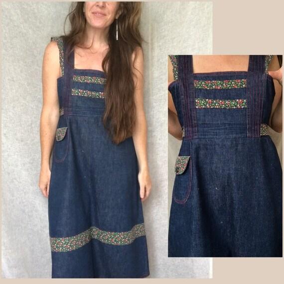 Sweet Vintage 70s Denim Apron Style Dress, Red st… - image 2