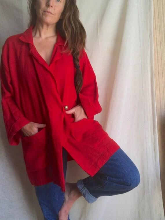 Ko and Co Oversized Linen Wrap Jacket, Kimono Wid… - image 6