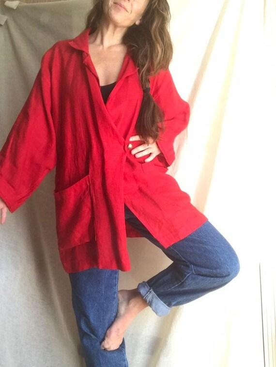 Ko and Co Oversized Linen Wrap Jacket, Kimono Wid… - image 2