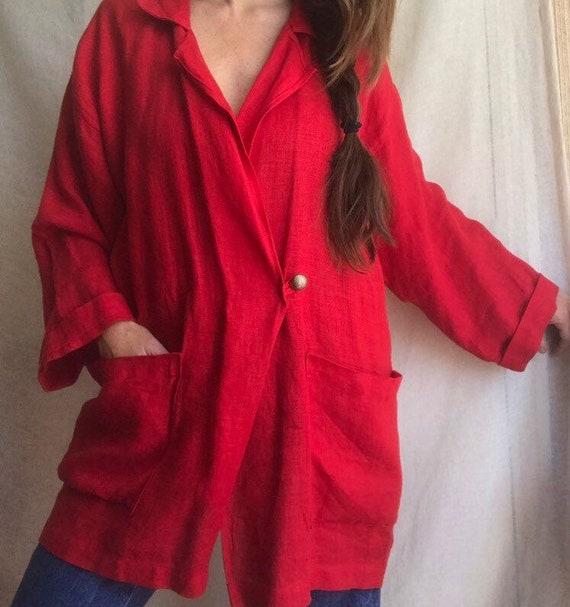 Ko and Co Oversized Linen Wrap Jacket, Kimono Wid… - image 4