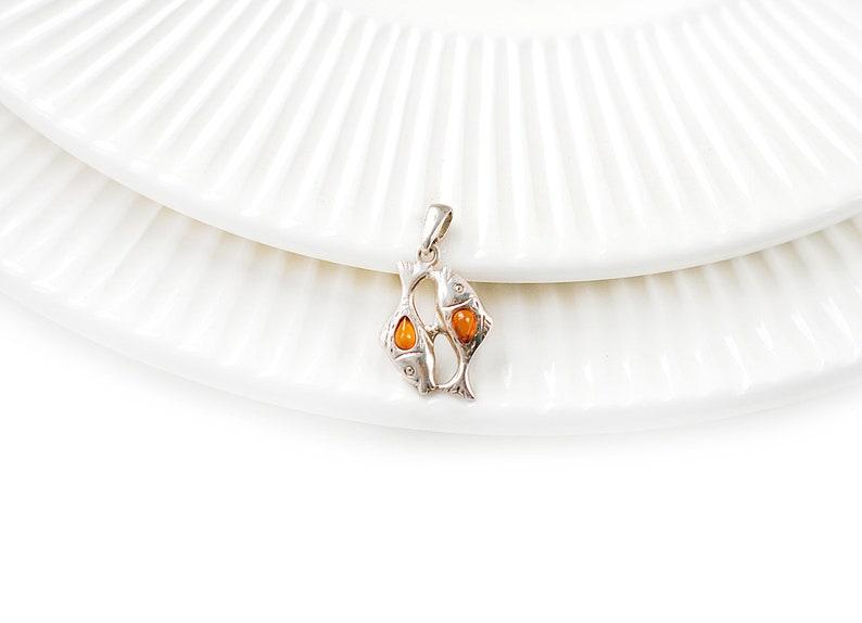 Pisces Cognac Genuine Baltic Amber Sterling Silver Pendant
