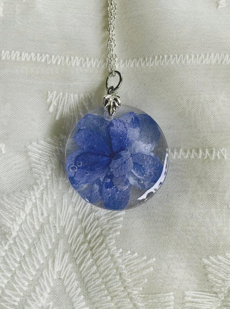 Blue Hydrangea Resin Pendant