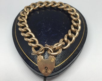 Victorian Curb Link Gold Charm Bracelet Victorian Charm Bracelet Unique Rare Victorian Charm Bracelet. Antique Chunky Gold Bracelet