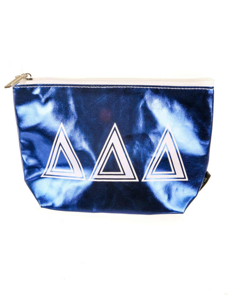 Fydelity Zip Pouch GREEK \u2206\u2206\u2206 Metallic Royal Blue