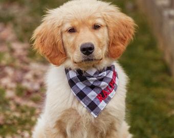 Pet Bandana Personalized Dog Bandana Fancy Dog Scarf Dog and Bone Print Dog Bandana Blue Fabric Dog Neck Wear Dog Clothing Fancy Dog Wear