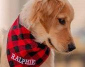 Personalized Embroidered Premium Plaid Dog Bandana, Soft Pet Flannel, Bandana With Name, Animal Neckwear, Dog Scarf