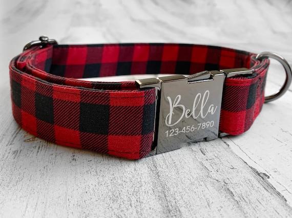 Red Buffilo and Tartan Plaid Dog Collar w/ Metal Buckle HAND