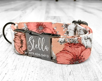 Personalized Dog Collar, Laser Engraved Metal Buckle Wedding Collar, Quick Release Buckle, Boho Cotton Voile Styles, Designer Collar