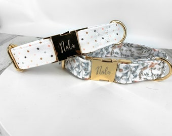 Personalized Laser Engraved Metal Wedding Floral Dog Collar, Quick Release Buckle, whimsical and Blush Polka Dot, Spring Wedding Girl Collar