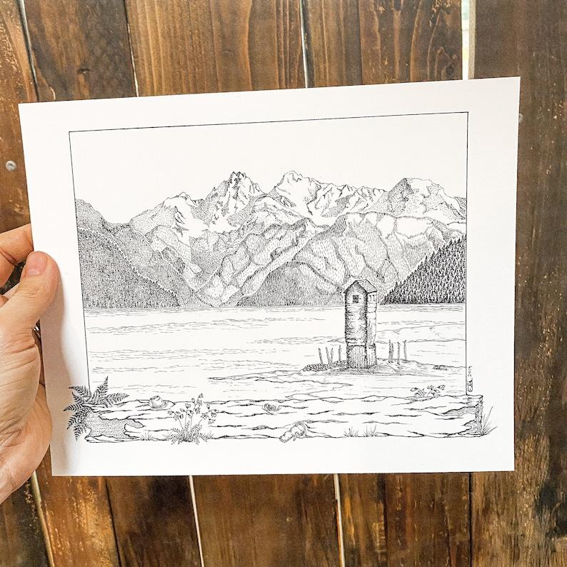 Original Pen /& Ink Archival Print The Pump House Alaska Boundary Ranges Juneau