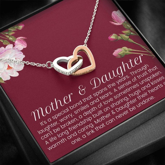 Christmas Gift Mother/'s Day Gift Mother Daughter Gift Interlocking Hearts Necklace Gifts for Mom