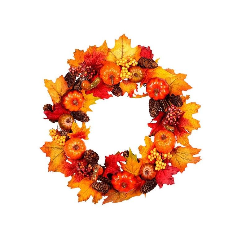 Autumn Wreath Thanksgiving Day Front Door Decoration Door image 0