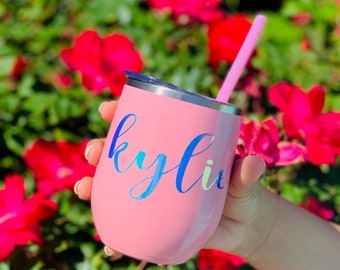 Wine Tumbler Personalized Wine Tumblers Stainless Steel Monogram Wine Glass Bachelorette gifts Bridesmaid Gift Proposals 12 oz set of 1