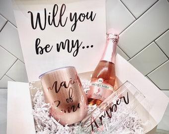 Bridesmaid Proposal Box, Wine Tumbler Proposal, Maid of Honor Proposal, Matron of Honor, Will You Be My Box, Bridesmaid Gifts Bridesmaid Box