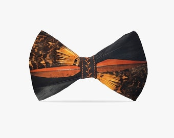 gifts for him exceptional elegance in zerowaste philosophy bow tie for a wedding Domica: bow tie made of natural bird feathers