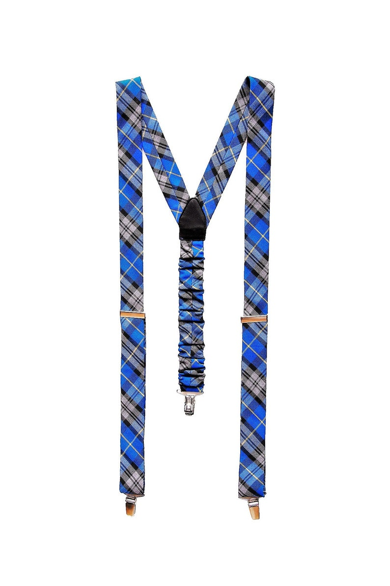 Blue checkered pattern suspenders Fashionable suspenders for women and men. Hand-made in Poland from the best Italian materials