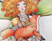 Articulated paper doll with her magical fox, instant DIY download