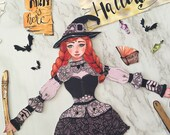 Halloween witch, paper doll, articulated paper doll, collectible doll