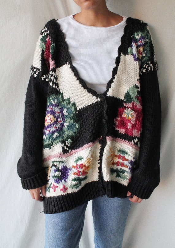 Vintage 1980s knitted by hand cardigan