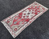 Vintage red rug, 6.3x2.5 feet handmade rug, turkish small runner, vintage rug runner,oushak rug, antique home rug, bohemian carpet, rugs