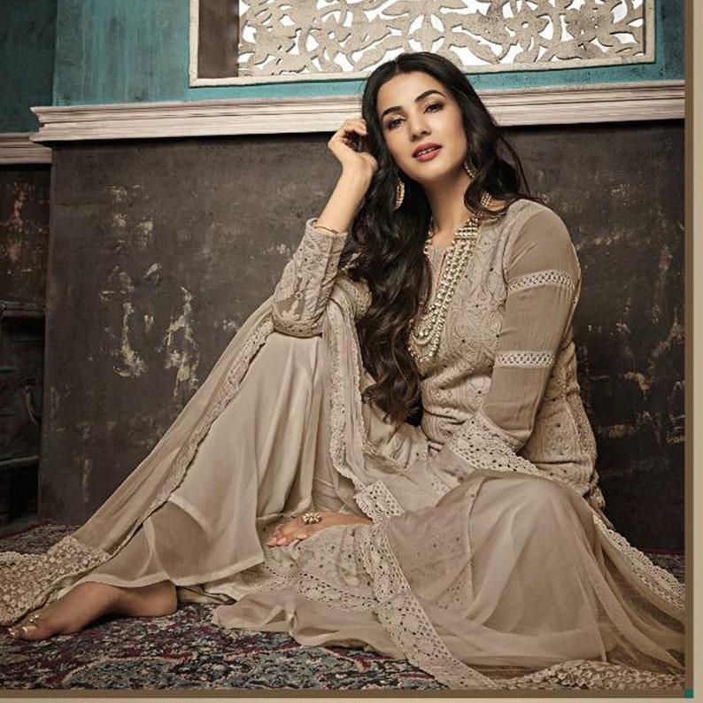 Faux Georgette Cotton Threads Work Salwar Kameez Wedding Party Wear Ethnic Pakistani Style Shalwar Suit Dress TM1026