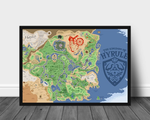 Legend Of Zelda Poster Legend Of Zelda Map The Kingdom Of Hyrule Legend Of Zelda Map Poster Wall Art Wall Decor Gift