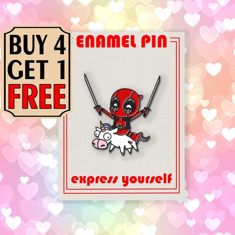 Deadpool Unicorn Enamel Pin Funny Rainbow Enamel Pins Backpack Pins Lapel Pin Pins Pin Badge Pin Custom Pins