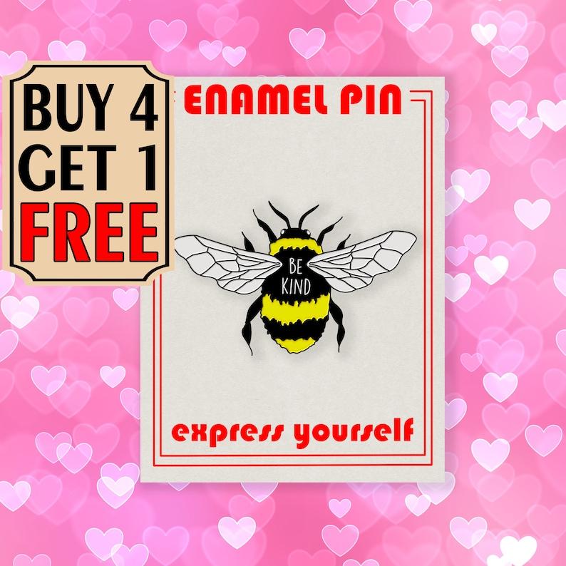 Be Kind Bee Enamel Pin Cute Honey Bee Enamel Pins Jacket Pins Lapel Pin Pins Pin Badge Pin Custom Pins