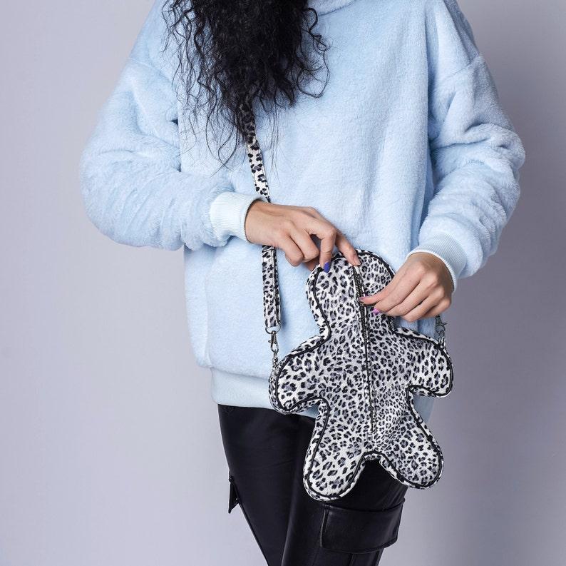 Gift for women Leopard print handbag Faux leather white black bag Cross bag Faux leather handbag Shoulder bag