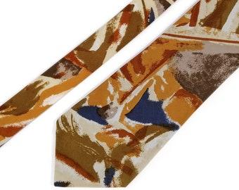 PENNEY/'S TOWNCRAFT Mint Condition Avant Garde Print 1950/'S Hand Stenciled Tie Vivid Colors
