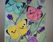 Coloured butterflies in a lavender field, original illustration made with watercolour paints