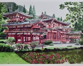 Print A4 Japanese temple. This is the Byodo-In replica located in Hawaii.
