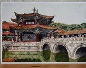 A4 print of the Yuantong temple located in Kunming in China.
