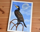 Cormorant with the moon during the day in the background original illustration in watercolour and coloured pencils
