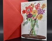 Postcard of an autumn bouquet in vase