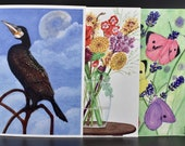 Mix and match three rectangle postcards of flora and fauna