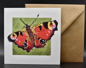 Postcard of a peacock butterfly