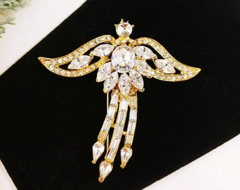 Vintage Angel Wings brooch pin gold tone clear Baguette Marquise Shape Glass Stones Clear Rhinestones Christmas Holiday Flying