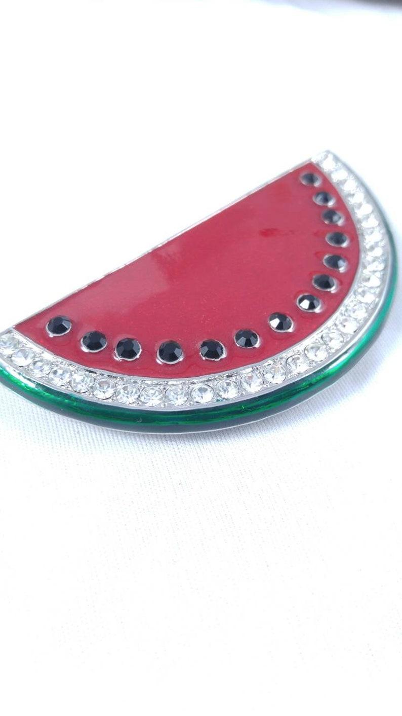 Watermelon large red enamel brooch pin pendant rhinestones clear black picnic summertime