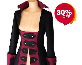 Ladies Steampunk Pirate Gothic Jacket Women Gothic Jacket